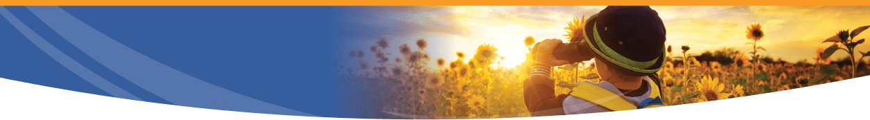 Enteris BioPharma small child with binoculars looking into sunflower field at sunrise with logo collage